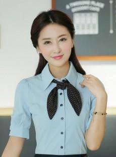 韩版蓝色泡泡袖女式衬衫