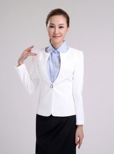 清爽白色夏季女士职业装宾馆工作服