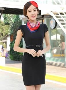 黑色极致连衣裙白领夏季职业装