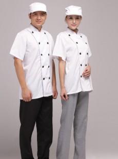 简洁双排扣厨师夏季工作服