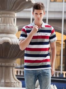 2015夏季时尚经典款男士修身条纹polo衫