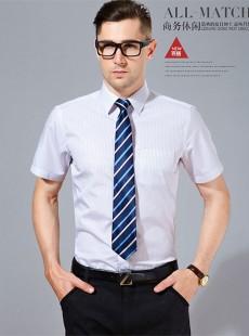 2015夏季男士短袖商务休闲条纹衬衣