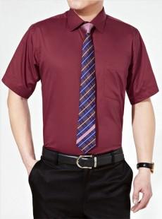 酒红色短袖夏季男士魅力衬衫