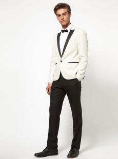 2015白色男士拼接领酒会礼服西服正装