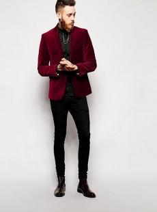 酒红色羊毛绒男士西服上衣时尚单西