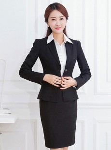 黑色经典韩版商务长袖女士职业装套裙