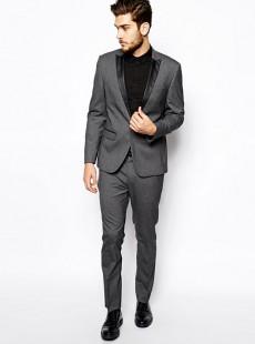 韩版碳灰色一粒扣男士西服套装