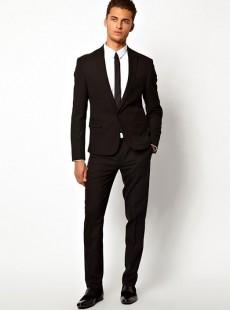 黑色一粒扣商务西装套装男士职业装