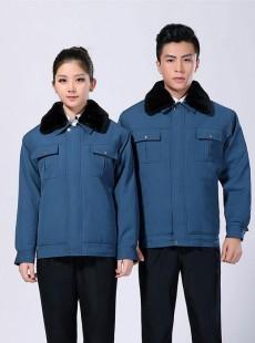 蓝色冬季工作服外套定做-sm01