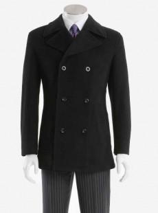 男士黑色双排短款羊毛大衣