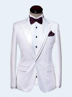 男士白色礼服套装修身西服套装