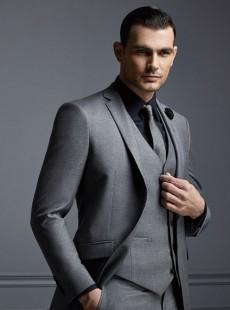2015男士商务正装修身羊毛灰色西装