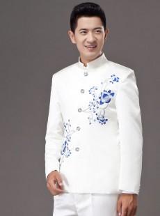 中国风青花瓷中式男装礼服2015新款