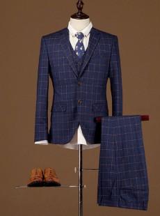 商务英伦男士西装格子三件套