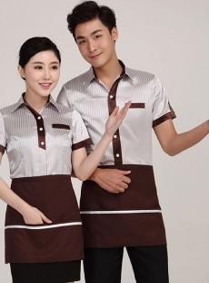 服务员工作服夏装餐厅短袖制服