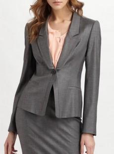 秋季工装经典一粒扣灰色女西服套装