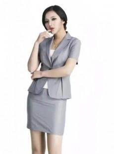 济宁夏季职业套裙定做银灰色韩版