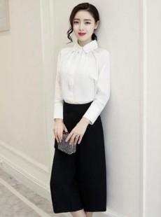 2016热品白衬衣阔腿裤职业套装【定做】