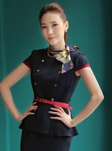 高端OL修身职业装空姐制服夏季套装