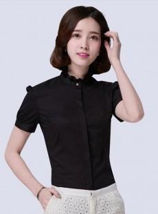 2016新款韩版立领荷叶花边雪纺衬衫