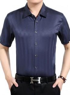 男士短袖真丝衬衫中国风桑蚕丝衬衣【定做】