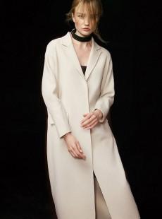 2016新款白色双面呢100%纯羊毛女大衣