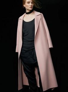 2016新款高端粉色双面羊绒大衣女款