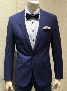 新郎结婚礼服男士休闲薄款蓝色小西装