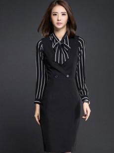济宁职业装女装定制黑色商务时尚连衣裙