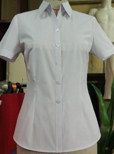 济宁衬衫定制女士短袖V字领衬衣